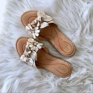 Born Gold Leather Slide Sandals